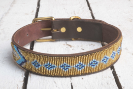 Halsband goud/blauw L