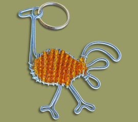 Beaded Keyring ostrich