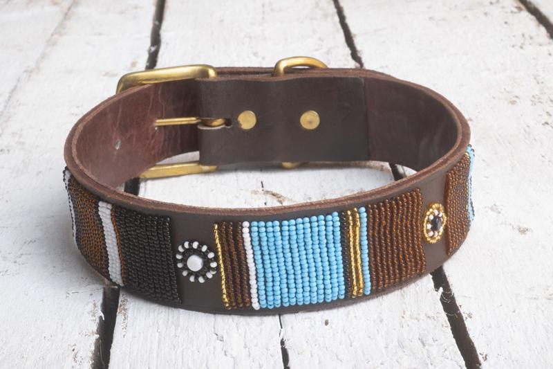 Halsband blauw/bruin L
