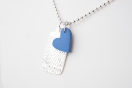 Zilveren ketting met hanger met vingerafdruk