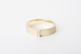 Geelgouden ring met diamantjes pavé gezet