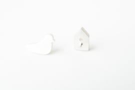 Oorsteker zilver vogel & huis