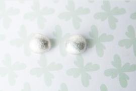 Oorbellen zilver gesmolten klompje