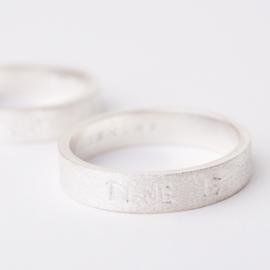 Herenring zilver met tekst