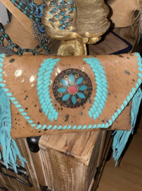 Bohemian Leather Bag Brown/Turquoise