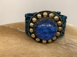 Boho Leather Belt Blue Medium