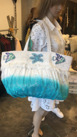 Antica Sartoria Beach Bag Blue/White