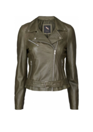 BTF-CPH Leather Biker Jacket Olive Green