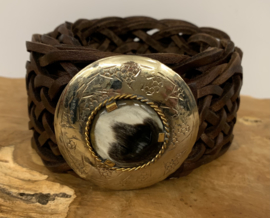 Bohemian Leather Belt Rond Bruin Small