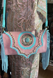 Bohemian Suede Bag Pink/Turquoise
