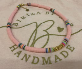 Bibiza By Bar Ibiza Disc Ketting Roze