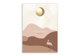 Geboortekaartje maanstand flamingo