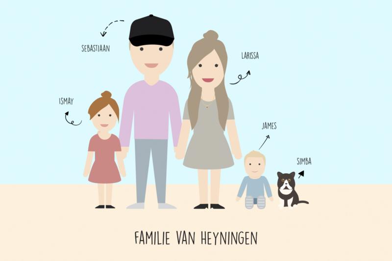 Familie illustratie avatar full body color