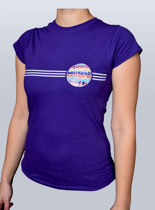 Women - Purple T-shirt with printed Colorful Patch and Lines