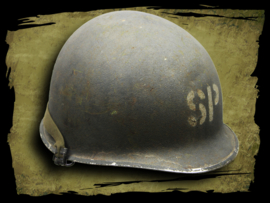 Shore Patrol M1 helmet Korean War