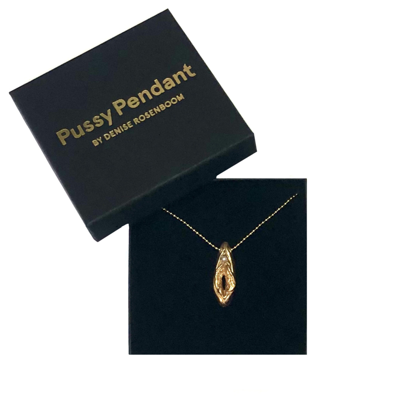 Gold coloured - Pussy Pendant  with Pearl (limited edition)