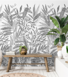 Dutch Jungle Fever JF6101 Mural A Branca bladeren zwart wit