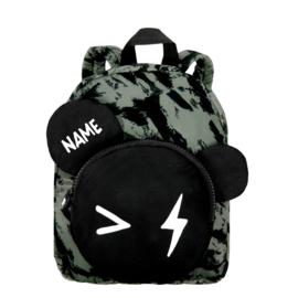 Backpack Bear Green Distress Personalised SMALL