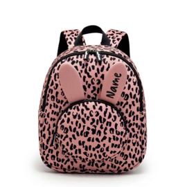 Backpack Blushpink Leopard Personalised
