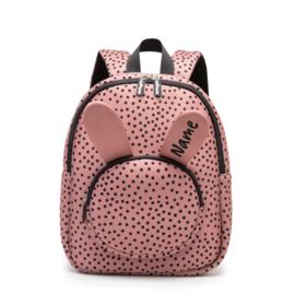 Backpack Bunny WarmPink Dots Personalised