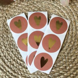 Stickers - Roest/goud hartje