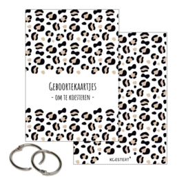 Geboortekaartjes - Bewaarbundel - Leopard - Ecru