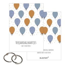 Verjaardagskaartjes - Bewaarbundel - Ballonnen - Blauw