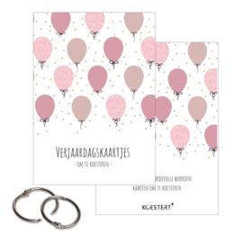 Verjaardagskaartjes - Bewaarbundel - Ballonnen - Roze