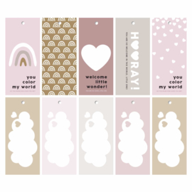 New born cadeaulabels - Roze