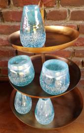 Vaasje blauw parelmoer  glas