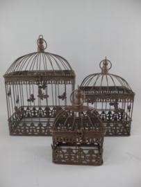 Vogelkooi  roestbruin set van drie