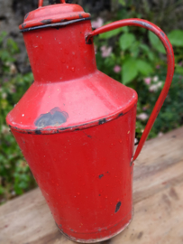 Brocante emaille  waterkan rood