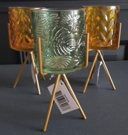 Waxinelicht met standaard groen