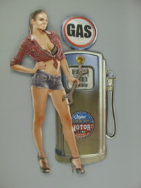 Gas pomp pinup  ijzer 84 cm