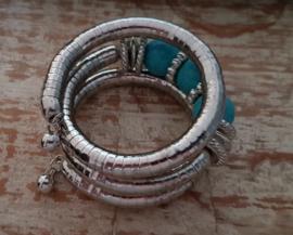 Wikkelarmband Zilverkleurig  steen blauw