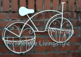 Planten bak fiets wit