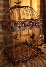 Vogelkooi  roestbruin set van twee