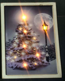 Kerstboom op canvas led xl