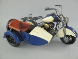 Motor ijzer blauw wit met zijspan