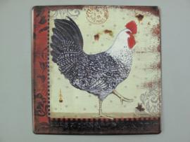 Wandschild ijzer kip 30x30 cm