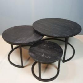 Salontafel set van drie zwart