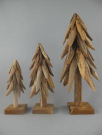 Teak houten  sobere kerstboom drie delig