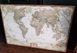 Landkaart wereldkaart  op jutten doek