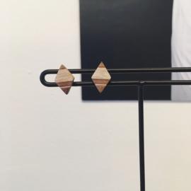 KLEINE HOUTEN RUIT OORBELLEN MET STERLING ZILVER