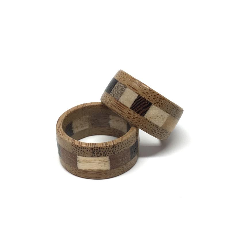 Houten Ring - Bamboe Wengé Essen Noten Esdoorn