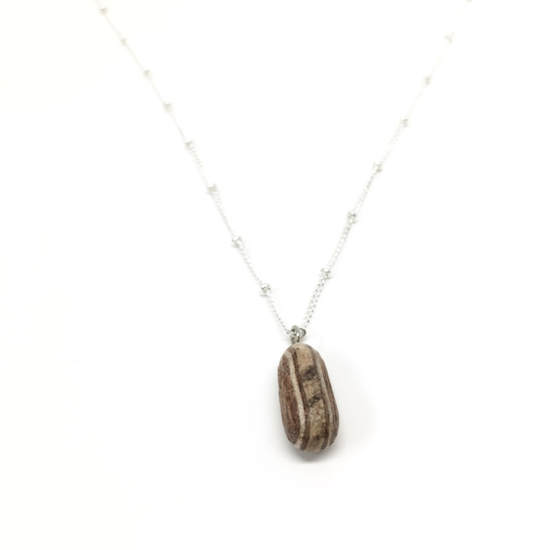 KETTING BOONTJE - HOUT ZILVER ANKER 45 CM