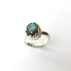 Zilveren ring met labradoriet in bladrand