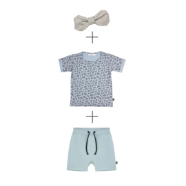 Short Mint  & T-shirt Animal met of zonder linnen haarband