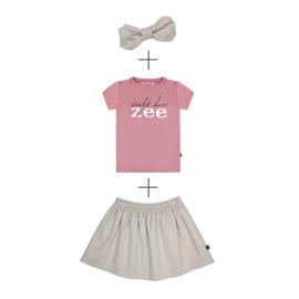 Skirt Linnen & T-shirt Zee met of zonder linnen haarband