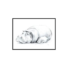 A3 Poster - Sleepy Hippo (handdrawn)